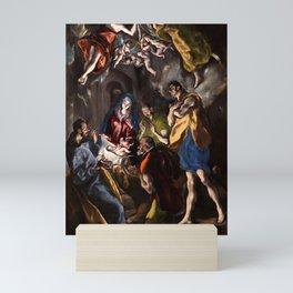 """El Greco (Domenikos Theotokopoulos) """"The Adoration of the Shepherds (1612-1614)"""" Mini Art Print"""