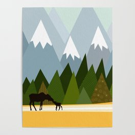 Woodland snowy mountain tops trees and mother moose and baby Poster