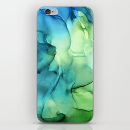 Blue Green Spring Marble Abstract Ink Painting iPhone Skin