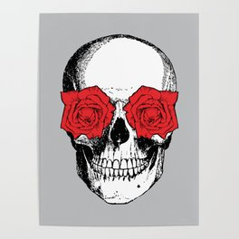 Skull and Roses | Grey and Red Poster