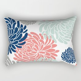 Floral, Chrysanthemums, Coral, Pink, Aqua, Navy, Blue Rectangular Pillow