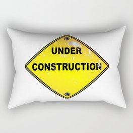 Yellow Under Construction Sign Rectangular Pillow