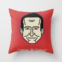 "robin williams Throw Pillows featuring ROBIN WILLIAMS - ""Captain, My Captain!"" by Gerardo Lisanti"