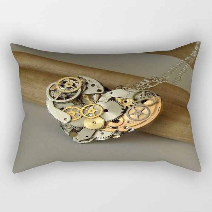 Steampunk Heart of Gold and Silver Rectangular Pillow