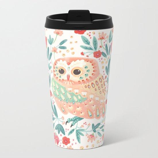 Little Pink Owl Metal Travel Mug
