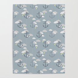 Stormy Nautical Pattern 2 Poster