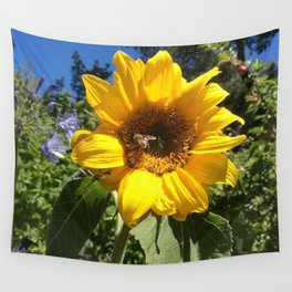 Bee on sunflower Wall Tapestry