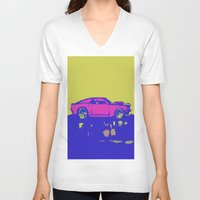 mustang V-neck T-shirts featuring lazer mustang by Crockettsky
