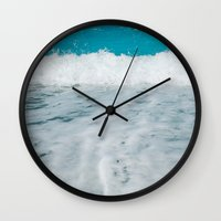 wave Wall Clocks featuring Wave by SensualPatterns
