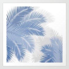 BLUE TROPICAL PALM TREES Art Print