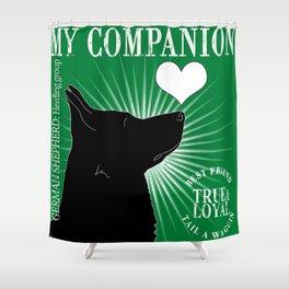 GERMAN SHEPHERD – My Companion - Green Shower Curtain