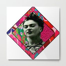 Kahlo Retro Fabric Collage Metal Print