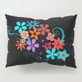 Colorful Flowers on black background Pillow Sham