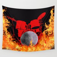 drum Wall Tapestries featuring Flaming Red Drum Set by Tina A Stoffel Arts