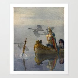 King Arthur and Excalibur Art Print
