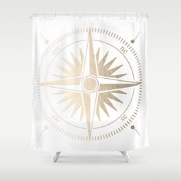 Gold on White Compass Shower Curtain