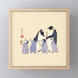 Emperor Penguin Family in the summer of Japan Framed Mini Art Print