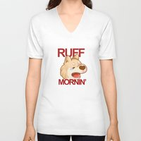 shiba inu V-neck T-shirts featuring RUFF MORNING - shiba inu by CUTE AF