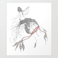 Hilos rojos. Art Print