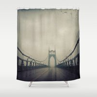 marc johns Shower Curtains featuring St. Johns Bridge by Leah Flores