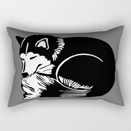 Black and White Sleeping Husky Rectangular Pillow