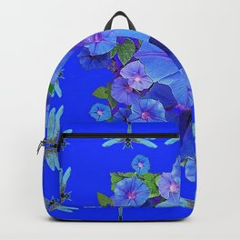 BLUE MORNING GLORIES DRAGONFLIES ART Backpack