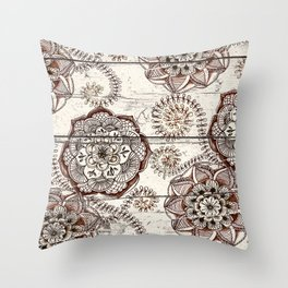 Coffee & Cocoa - brown & cream floral doodles on wood Throw Pillow