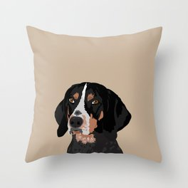Maggie bluetick coonhound Throw Pillow