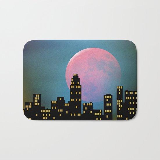 Super Moon over the City Bath Mat