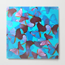 Shiny Blue And Pink Butterflies On A Turquoise Background #decor #society6 #pivivikstrm Metal Print