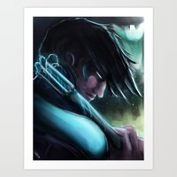 nightwing Art Prints featuring Nightwing by Nicole M Ales