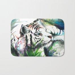 WHITE TIGER WATERCOLOR Bath Mat