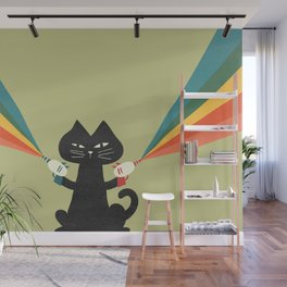 Ray gun cat Wall Mural