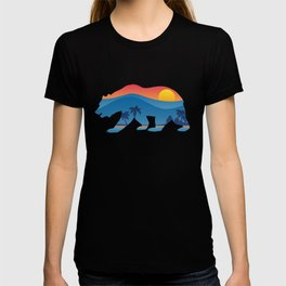 California bear with superimposed mountains and beach shoreline T-shirt