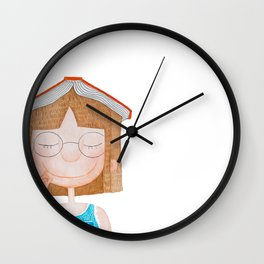 Smiling little cute girl with eyeglasses, and red book on her head. Watercolor illustration. Wall Clock