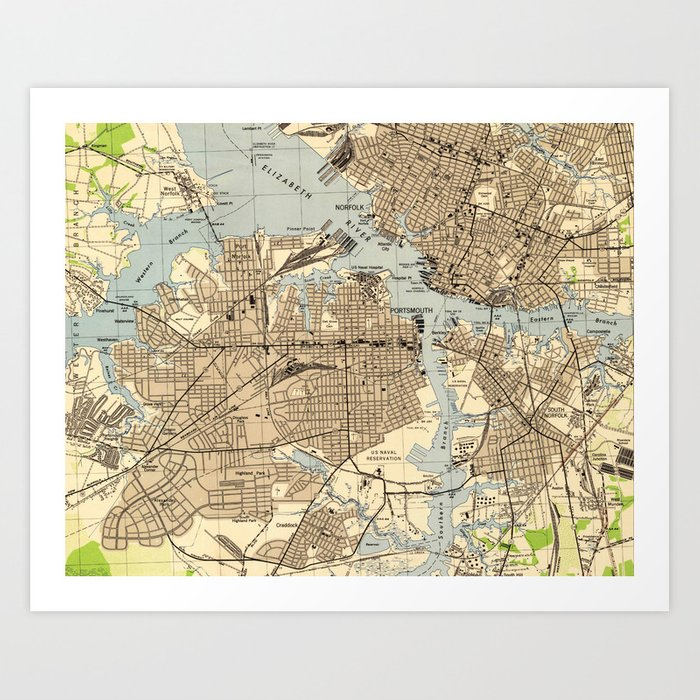 Portsmith Virginia Map.Vintage Norfolk Portsmouth Virginia Map 1944 Art Print By