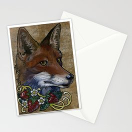 Neo-traditional Fox with Strawberries Stationery Cards