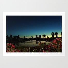 Sunset near the lake Art Print
