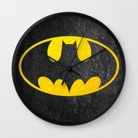 bat man Wall Clocks featuring Bat man by S.Levis