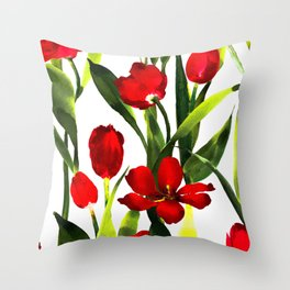 Red Tulips in Watercolor Throw Pillow
