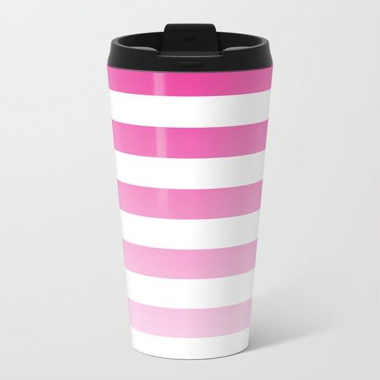 Maritime pattern- pink gradient stripes on clear white- horizontal Metal Travel Mug