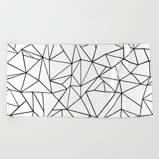 Abstract Outline Black on White Beach Towel