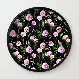Peonies in Her Dreams - black Wall Clock
