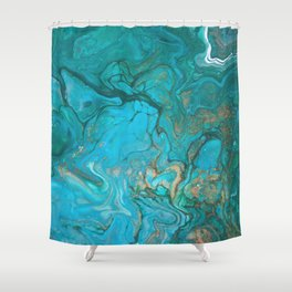Malachite Flows - Abstract Acrylic Pour Art by Fluid Nature Shower Curtain