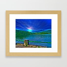 Sun over Lake Schliersee bavaria Germany Framed Art Print