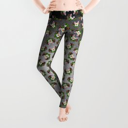 French Bulldog in White - Day of the Dead Sugar Skull Dog Leggings