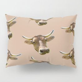 brown western country cowboy rodeo bull Pillow Sham