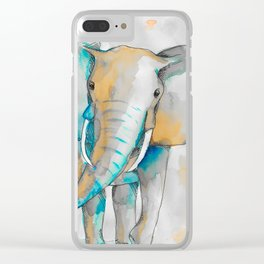 Watercolor Elephant Clear iPhone Case