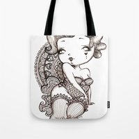 burlesque Tote Bags featuring Chubby Burlesque by Sabrina Eras