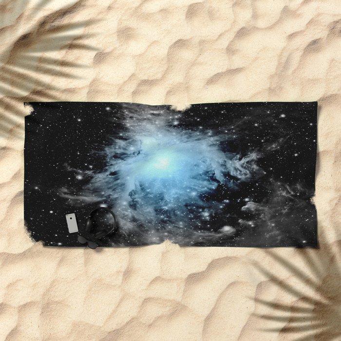 Orion nebULa Black White Blue Space Beach Towel